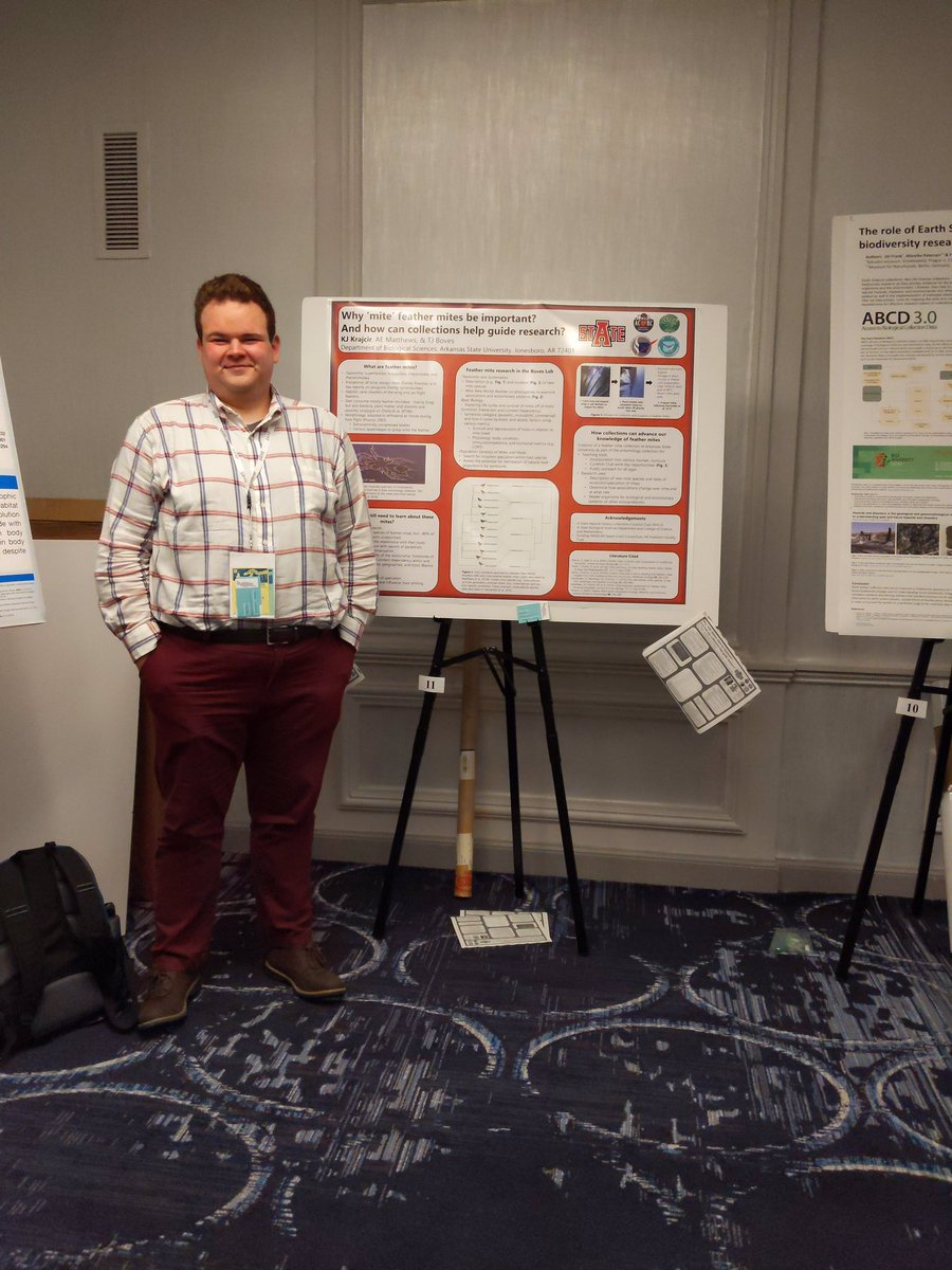 What an awesome opportunity it was to attend #SPNHC2019 this past week! I got to present research about #FeatherMites, network, and explore Chicago with some amazing friends. Thanks @AstateNhc3, A-State Biology, and @BovesLab for the funding and support for this!