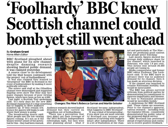 #exclusive in today's Mail: 'foolhardy' #BBC #Scotland bosses ploughed ahead with new #TV channel to 'futureproof' the corporation in the event of Scottish #independence, according to a source close to the channel's development: