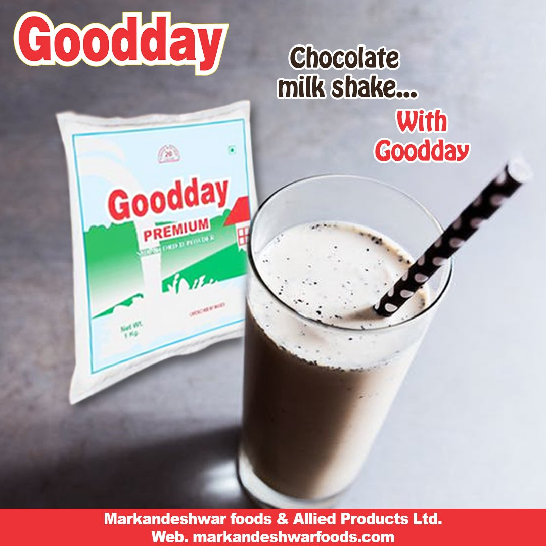 Chocolate Milk Shake With Goodday Milk Powder ✅100% Secure for Your Baby and for all other family members. Get Your Pack Now of #Good_Milk_Powder @MarkandeshwarF  For trade enquiry: 9896370720, 97293 44011 #markandeshwarfood #chocolate #milkshake #gooday #puremilkpowder