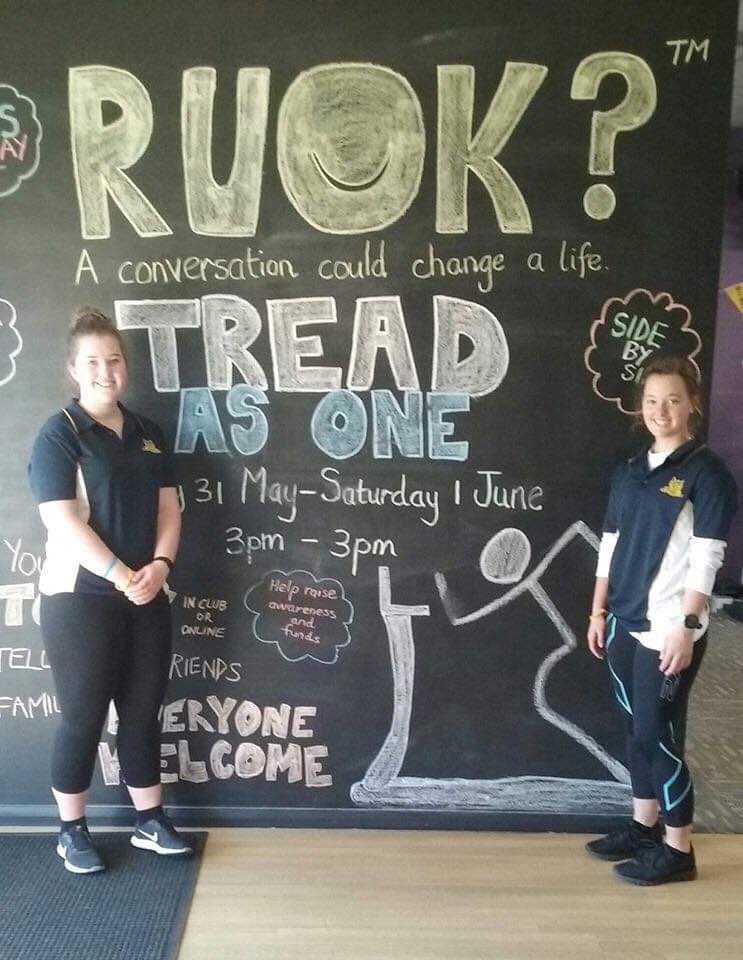 Fantastic effort by @FCJCollege staff and students raising $570 of the $2000 total in the @AnytimeFitness #Benalla #TreadAsOne challenge - raising awareness for suicide prevention 💜 #RUOK