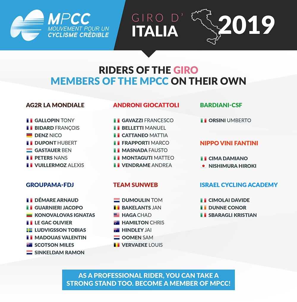 "MPCC on Twitter: ""#Giro102 : 35 members of the MPCC on their own ..."