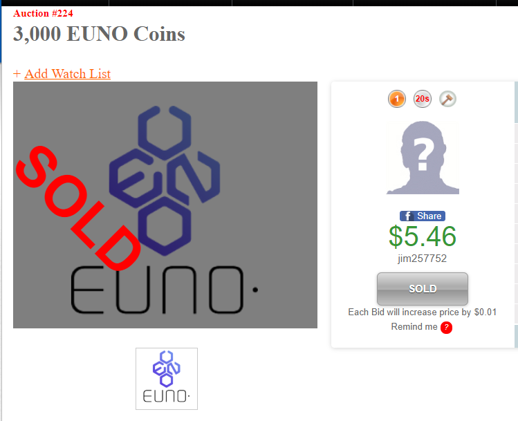Our first @EunoCoin Auction has ended!   Winner: Jim257752 Has won 3,000 EUNO for $5.46!  Good Luck tomorrow on Auction# 226 5,500 Verge XVG  $EUNO #EUNO $XVG #XVG #Verge #Vergecurrency #VergeFam #VergeArmy https://t.co/A1KdsmvcBX