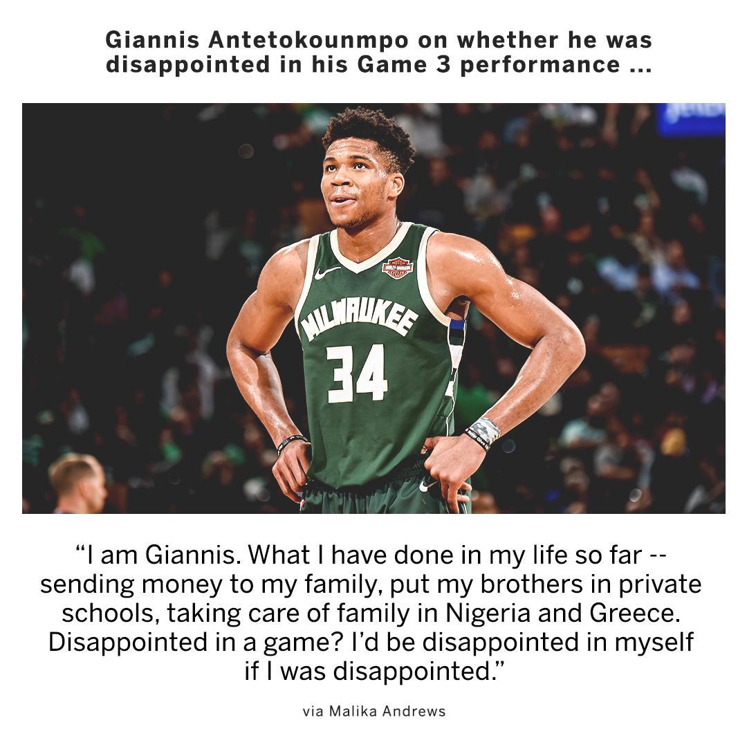 Giannis is keeping things all in perspective. (via @malika_andrews)
