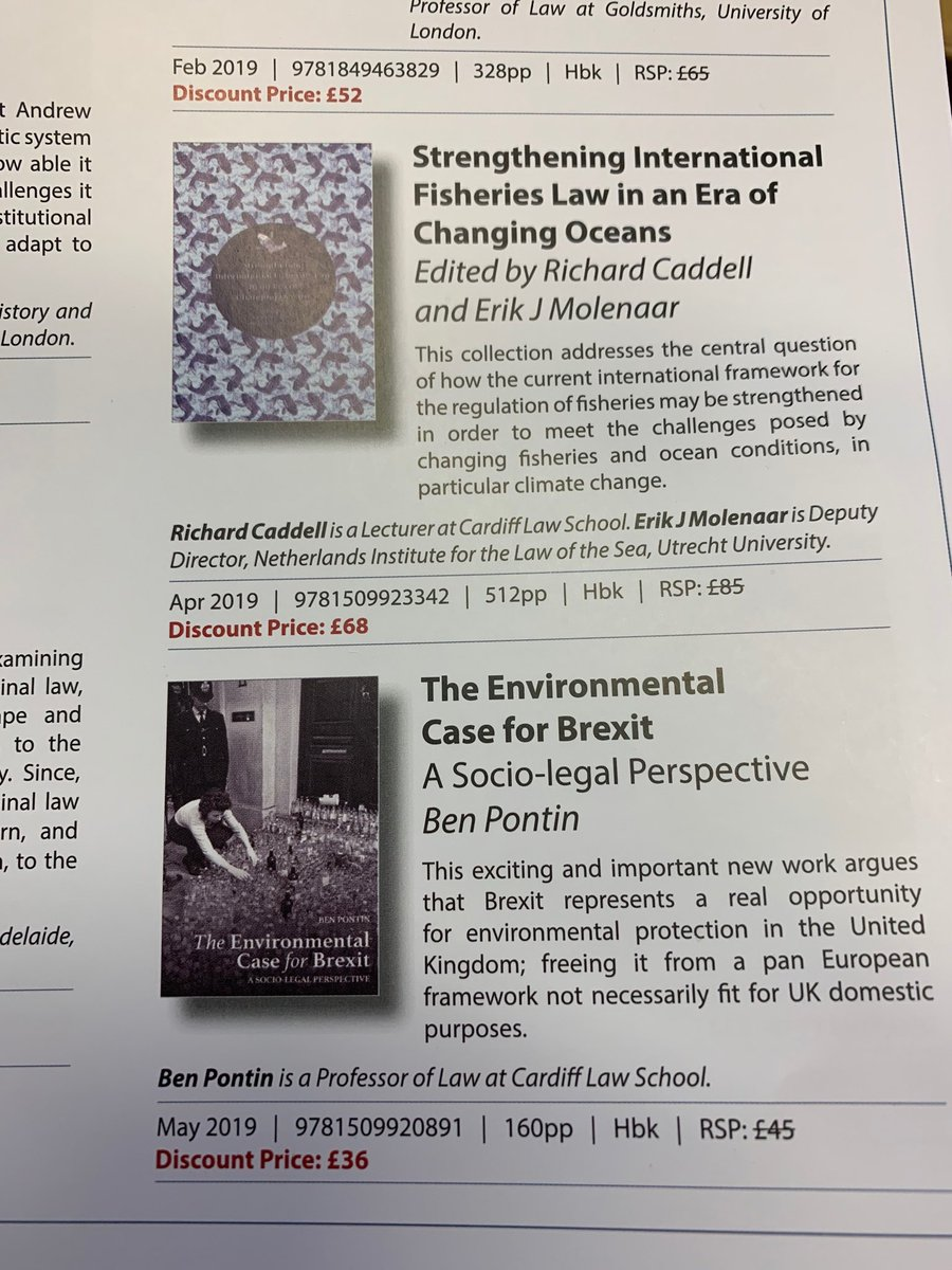 A lovely morning all- now even better when i opened this @hartpublishing catalogue and found 2 new books written by @CardiffLaw colleagues @Richard_Caddell and Ben Pontin.