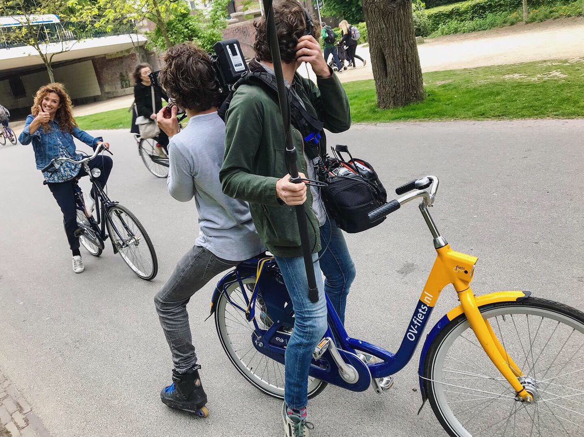 """""""Gemaakt in Nederland"""" (""""Made in the Netherlands"""") is a six-part documentary series now airing on television station RTL 4.  Today we joined host @Schuurman_Katja in Vondelpark to discuss the remarkable aspects of Dutch cycling culture, for an episode that will air on June 24th."""