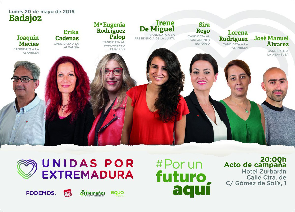 No te olvides de que hoy tenemos una cita importante en Badajoz con: 👉 @MEugeniaRPalop 👉 @sirarego 👉 @Irenirima 👉 @JoaquinMaciasIU 👉 @lorecarcaboso 👉 @sete_alvarez 👉 @ErikaBadajoz ⏰ 20:00 🏘️ Hotel Zurbarán #PorUnFuturoAquí
