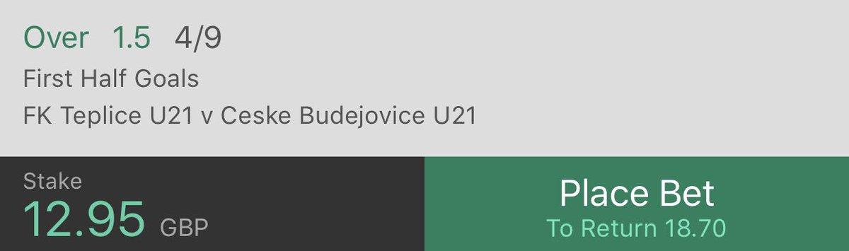 🚨 £5 > £100 CHALLENGE 🚨  BET 3  Match - FK Teplice U21 vs Ceske Budejovice U21  Bet - Over 1.5 First Half Goals  💸 £12.95 > £18.70 💸  ❤️ LIKE IF YOU'RE ON! ❤️  #Inplay #InPlayChallenge