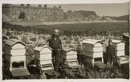 Behold! it is #WorldBeeDay 🐝 Beekeeping in Roslin with keeper Mr Young & his beehives 1921 @roslininstitute In the 1795 Review of Agriculture, James Bonner a celebrated Roslin Bee Master, wrote on beekeeping & supplied honey to the Edinburgh gentry scran.ac.uk/database/recor…🍯