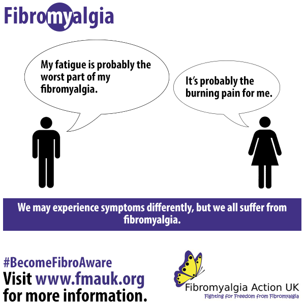 Fibromyalgia can impact everyone differently, and people may struggle more with certain symptoms. But it is important to remember that everyone still suffers from fibromyalgia, and together we will help raise awareness of such a debilitating condition. #BecomeFibroAware 🙌🏽