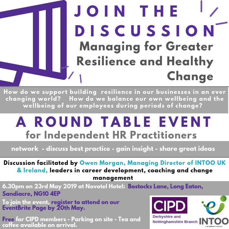 Are you an independent HR Practitioner wanting to know more about building resilience in businesses and also how to balance your own wellbeing as well as your employees during change? Join us on 23 May to network, share ideas and good practice. Book here: bit.ly/2JRVoKQ