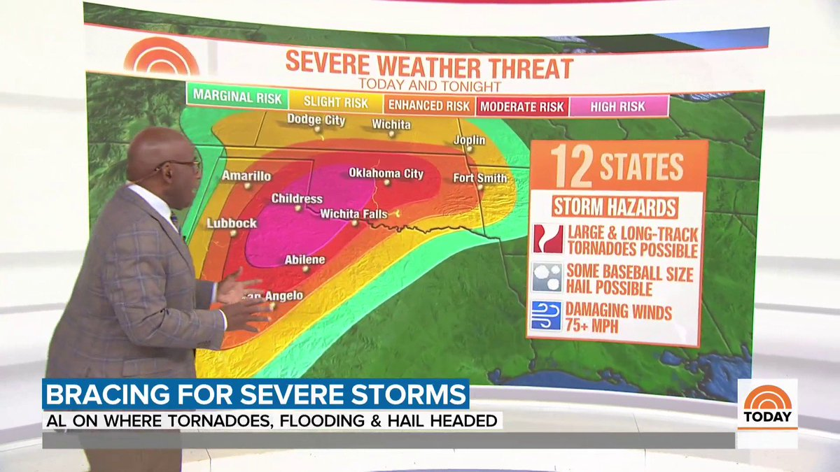 """This is an extremely dangerous situation."" 18 million people are at risk today and tonight for severe weather. @alroker has the forecast, including which areas are most at risk for tornadoes."