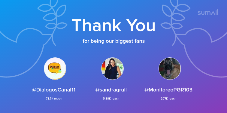 Our biggest fans this week: DialogosCanal11, sandragrull, MonitoreoPGR103. Thank you! via https://sumall.com/thankyou?utm_source=twitter&utm_medium=publishing&utm_campaign=thank_you_tweet&utm_content=text_and_media&utm_term=35fed158a4f55a1e54baaf10 …