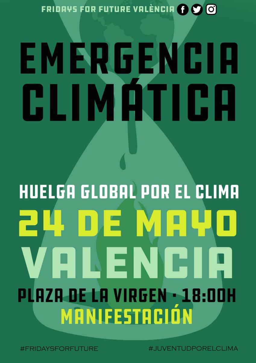 ¡4 días para la 2ª Huelga Global por el Clima!  📆Viernes 24 de mayo 1⃣18:00h - Plaza de la Virgen (comienzo del recorrido) 2⃣19:30h - Llegada a la Plaza del Ayuntamiento y manifiesto  ¡FIRMA NUESTRA CARTA ABIERTA PARA APOYARNOS! https://docs.google.com/forms/d/e/1FAIpQLSeadQmZhGdgNxyziLS16ln6kzG0fl424JNVrcMybb9_yWNXnw/viewform…  #FridaysForFuture