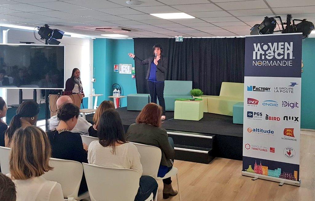La journée #WITNORMANDIE continue ! Delphine Rapeneau, incubée chez @Ndie_incubation , présente son projet #Howard ! #tech #startup #Normandie https://t.co/iLa1Ivs9yh…