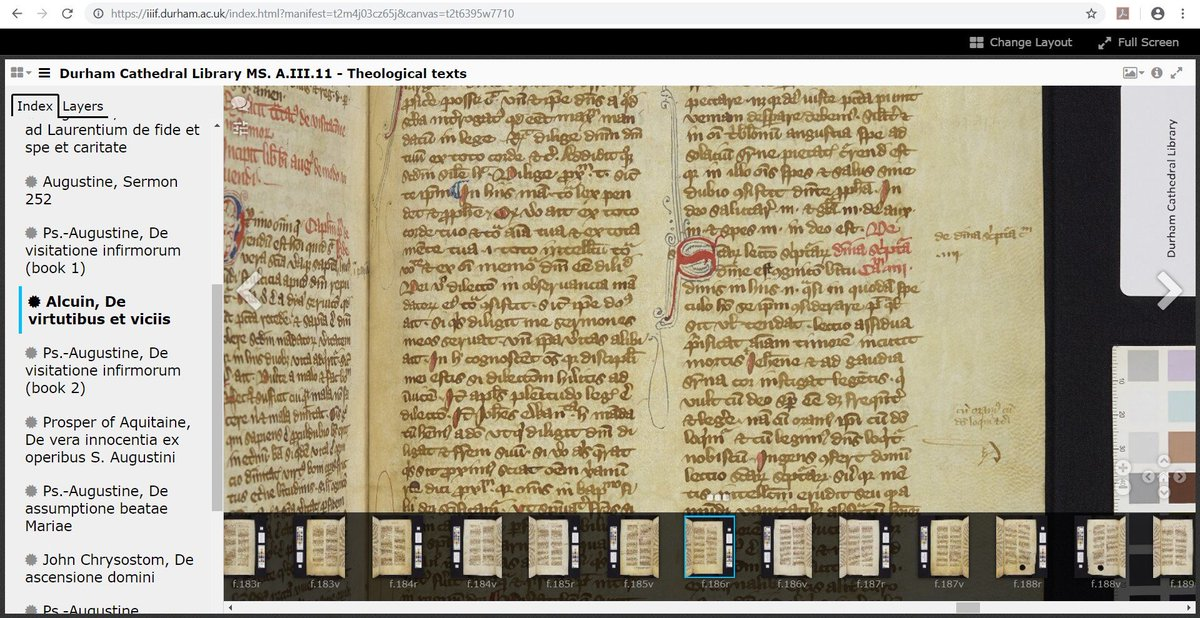 Todays the feast day of scholar & teacher Alcuin of York (d. 804). A prolific & influential writer, his treatise on virtue & vice was written for Count Guy (Wido) around the year 800, & survives in over 140 manuscripts. #medievaltwitter #OTD #OnThisDay iiif.durham.ac.uk/index.html?man…