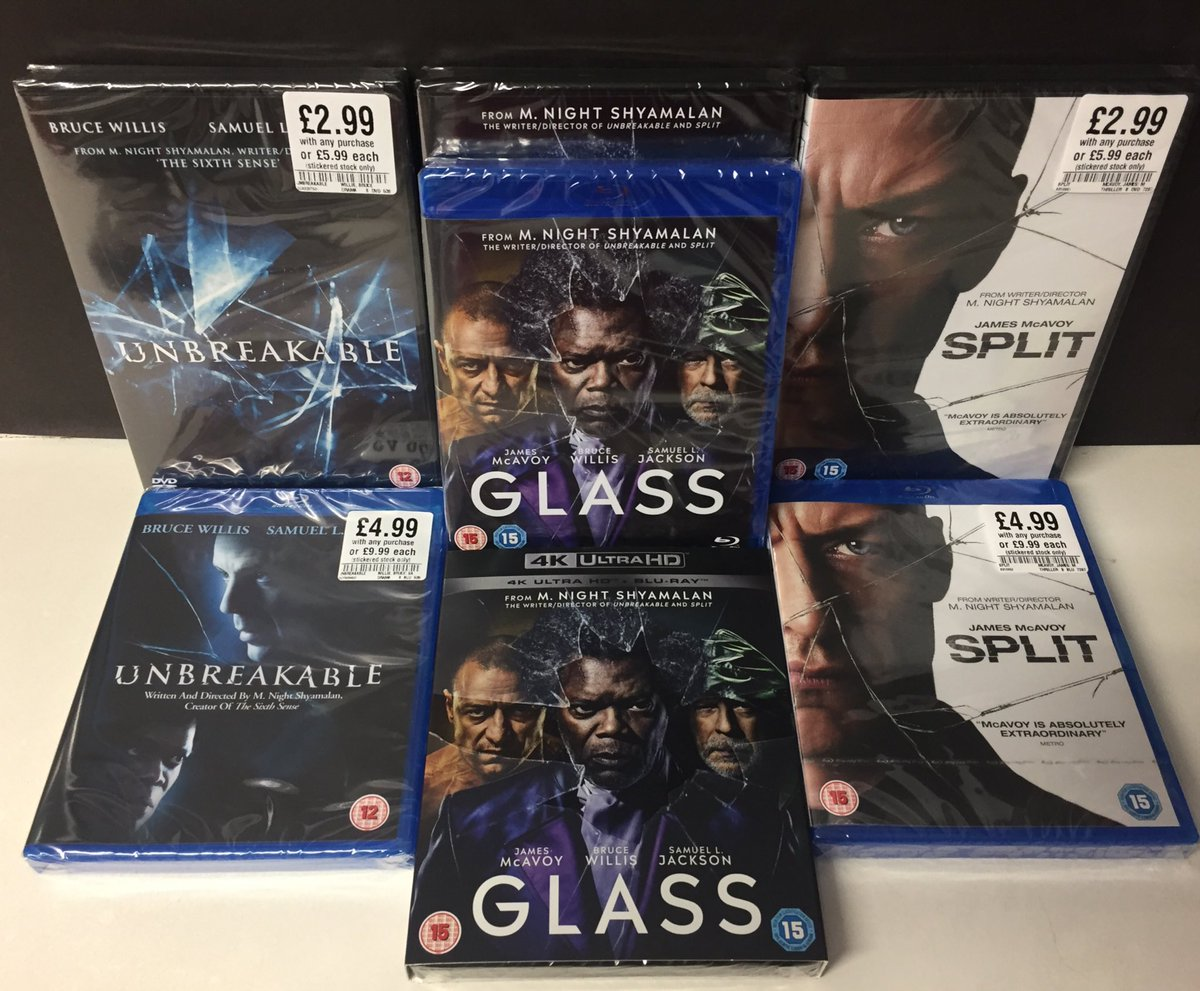 The finale to the Eastrail 177 Trilogy is out today!  #Glass is out today on DVD, Blu-Ray and 4K UHD  Missing any part of the trilogy? Unbreakable and Split are both available for half price with your purchase today  #GlassMovie #hmvLovesFilm<br>http://pic.twitter.com/UDlDMzLJlb