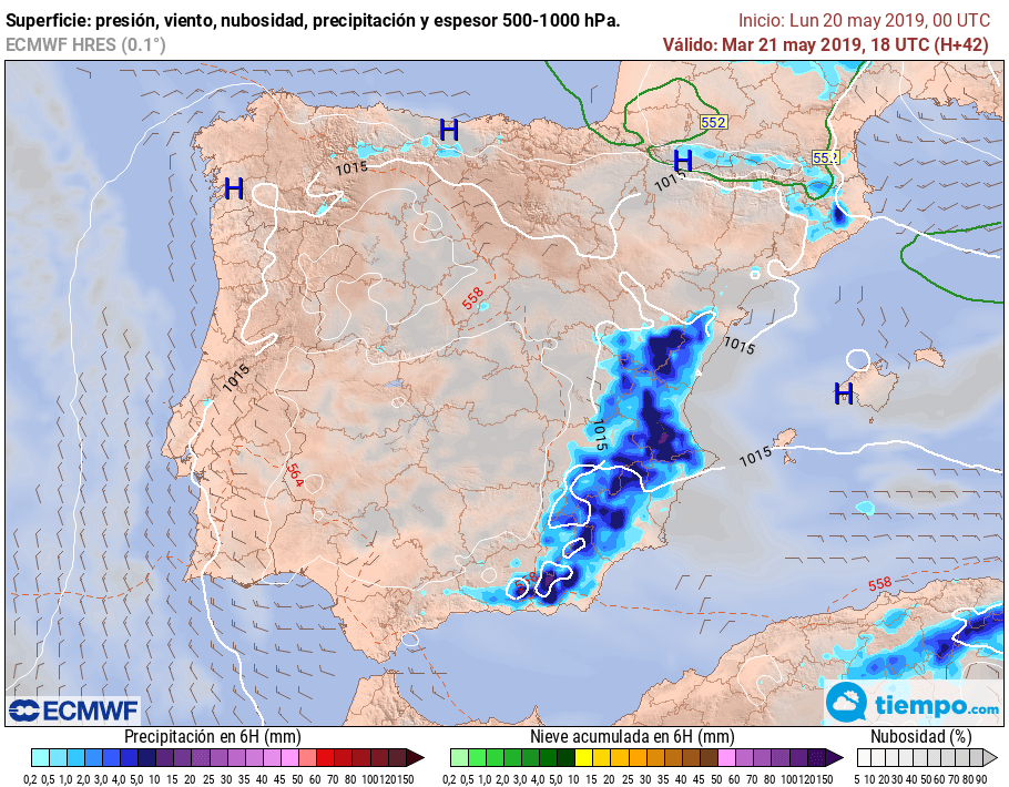 Mañana Martes 21 se esperan #chubascos y #tormentas que podrán ser localmente fuertes y con #granizo en todo el interior E peninsular, especialmente SE. No se descarta que alcancen zonas litorales. #FMA