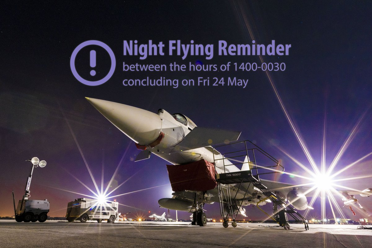 ⚠️ Night Flying this week - between 1400-0030  ⚠️  Reminder that there will be an increase of activity between these hours. This training is essential to ensure our pilots are fully trained in operating in low light conditions.   #NoOrdinaryJob #SecuringTheSkies