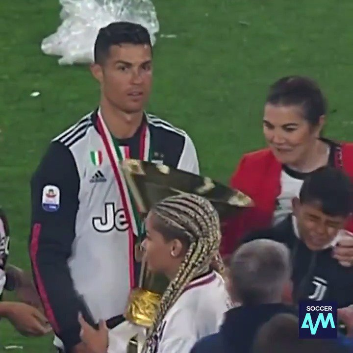 Cristiano Jr. gets his first taste of silverware (literally) via his superstar dad 😂😂