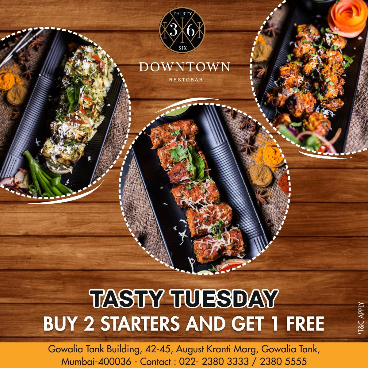 Tuesday's are always amazing, so join us in having tasty starters to keep your mouth watering😋 #36downtownrestobar #restobar #Livescreening #music #Multicuisinefood #bar #Hangout #mumbaifood #tuesday #bloggers #alldaydine #indianfoodtales #kempscorner #offerweek #starters