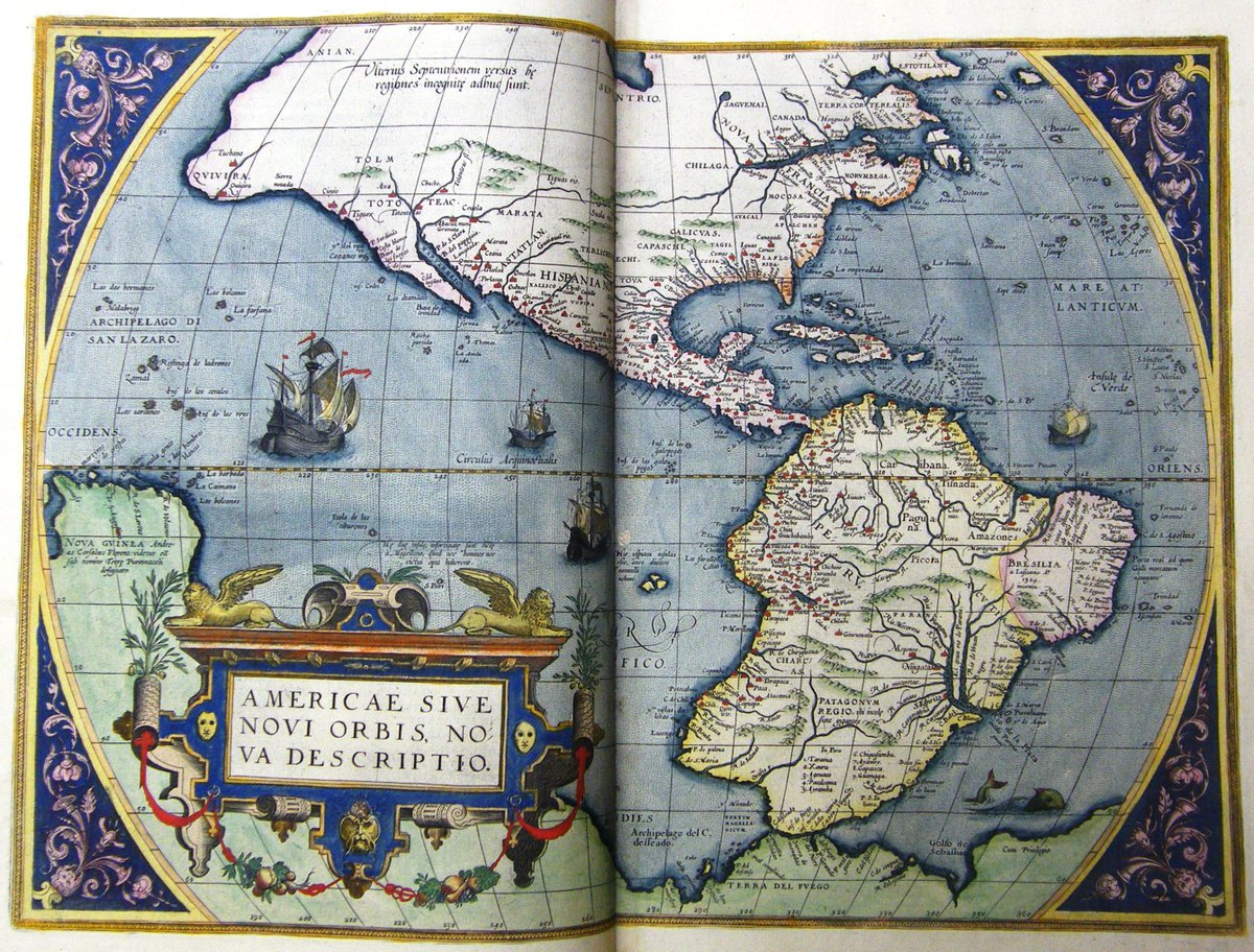 The first modern atlas, Theatrum Orbis Terrarum by Abraham Ortelius, was published #OnThisDay in 1570 in Antwerp. The atlas was so successful 31 editions were published over the next 40 years. Here is our 1584 edition. #maps #geography #rarebooks #OTD
