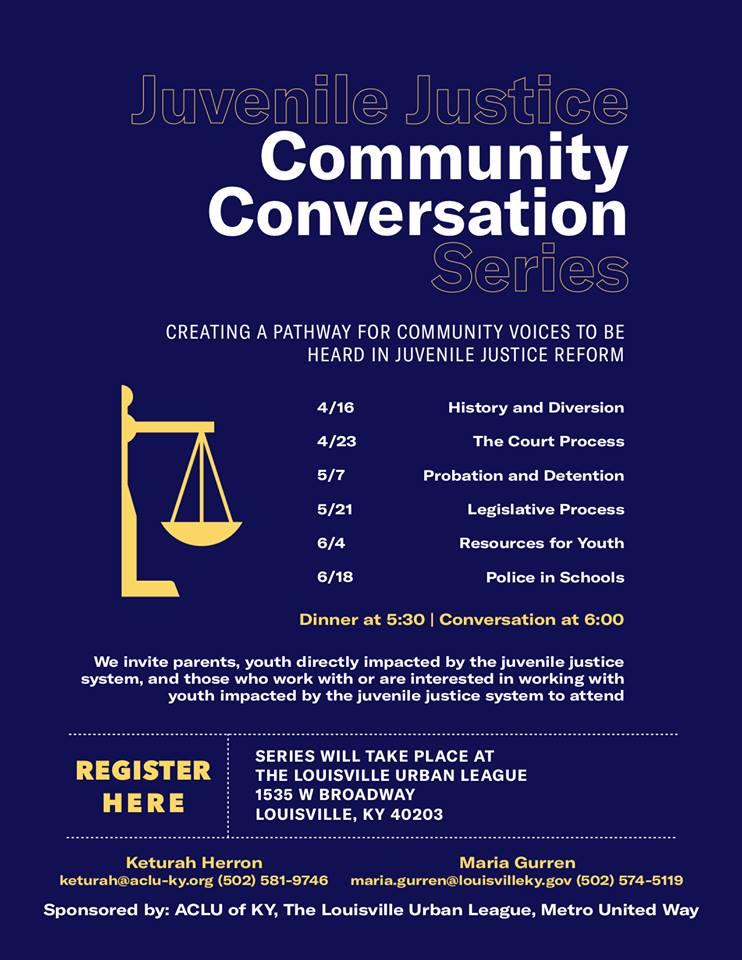 🗣Tuesday night is the latest installment of the Juvenile Justice  Community Conversation at the Louisville Urban League.  There will be dinner, conversation, and childcare available as we discuss the legislative process.  Please RSVP: https://action.aclu.org/webform/ky-juvenile-justice-community-conversation?ms_aff=KY&initms_aff=KY&ms=190327_ky_juvenile_justice_community_conversation_&initms=190327_ky_juvenile_justice_community_conversation_&ms_chan=fb&initms_chan=fb&fbclid=IwAR33Osk4QWGkgw8rluf7jZw4SjvXF8y-rTr8yAO2l6xiBqGTgy1x5go88O0…