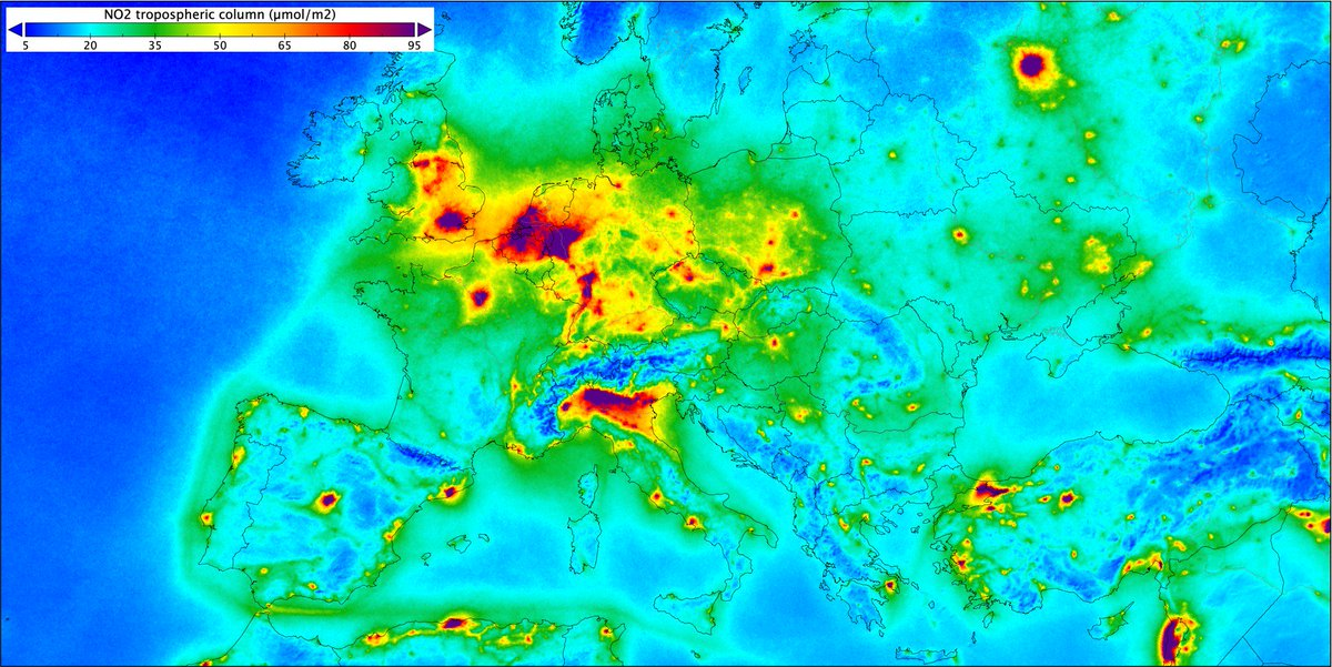 This image shows nitrogen dioxide concentrations over #Europe based on measurements gathered by @CopernicusEU #Sentinel5P from Apr 2018 to Mar 2019. Nitrogen dioxide pollutes the air mainly as a result of traffic and industrial processes. Read more: esa.int/Our_Activities…