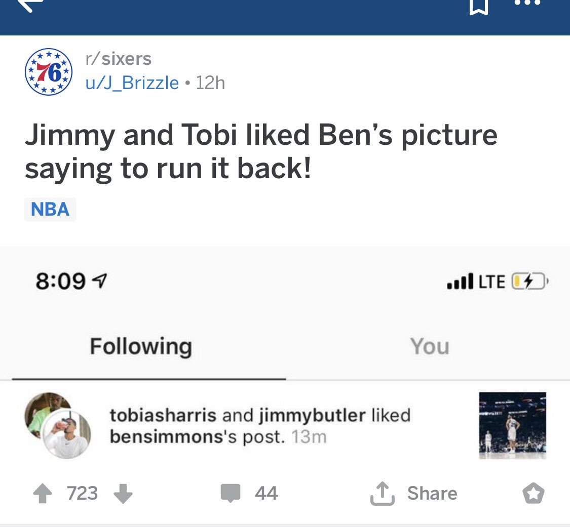 jimmy butler and tobias harris liked ben Simmons's #runitback post <br>http://pic.twitter.com/3iuYJrTTND