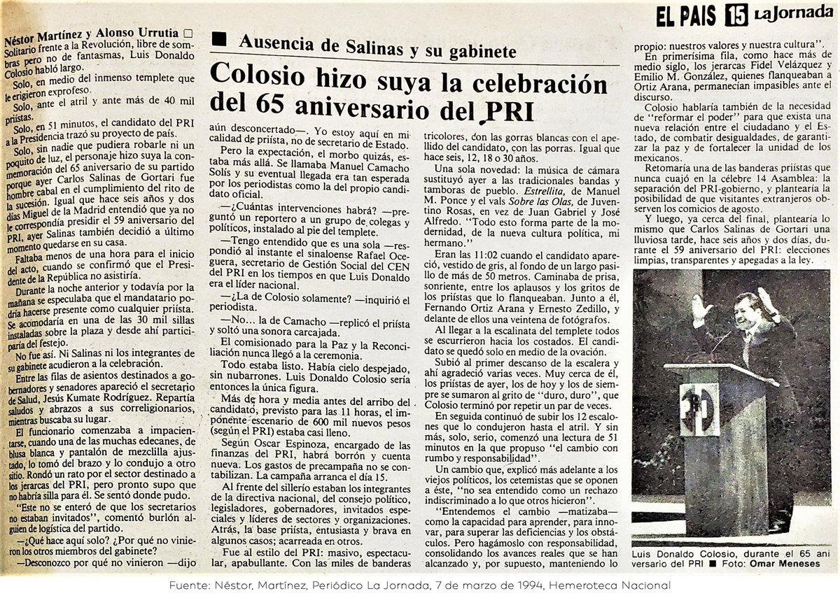 El famoso discurso de Colosio en 1994.   «Reformar al poder».  «Veo un México con hambre y sed de justicia» https://t.co/l077dldGyg