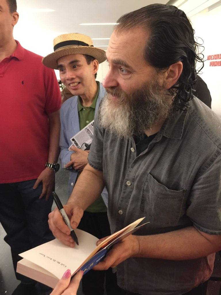 Michael Stuhlbarg signing a copy of #CMBYN last Saturday, after the afternoon performance of SOCRATES at the Public Theater. The East Village. #NYC  Photo credit: @robertstein100