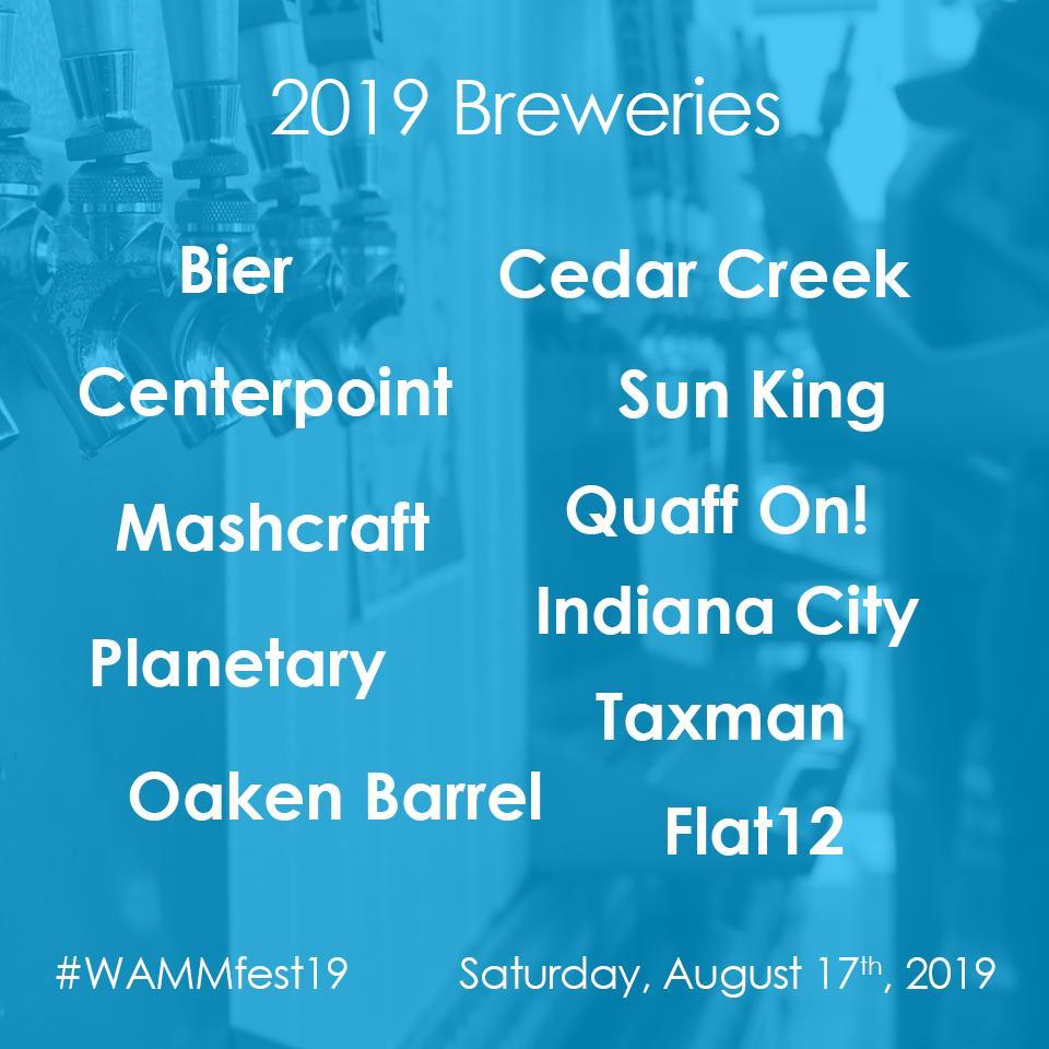Breweries 🍻 that will be at #WAMMfest19! GET TICKETS NOW: eventbrite.com/e/2019-wammfes… @thebierbrewery @centerpointbrew @MashCraftBrews @SunKingBrewing @taxmanbrewing @IndianaCityBeer @QuaffONBrewing @OakenBarrel @Flat12Bierwerks @PlanetaryBrew Cedar Creek #FestCountryIN #Microbrew
