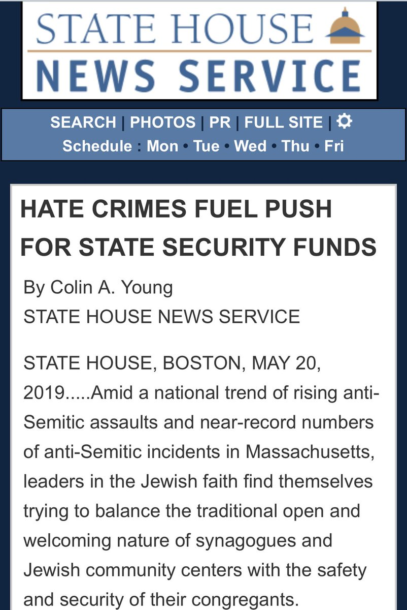 """""""JCRC sent to @MassGovernor and top legislators a letter signed by the leaders of about 150 Jewish institutions asking the Legislature to """"step-up and fulfill its basic obligation by fully funding the non-profit security grant program..."""" @statehousenews  https://www.statehousenews.com/mobile/?mode=news&select=2019889…"""