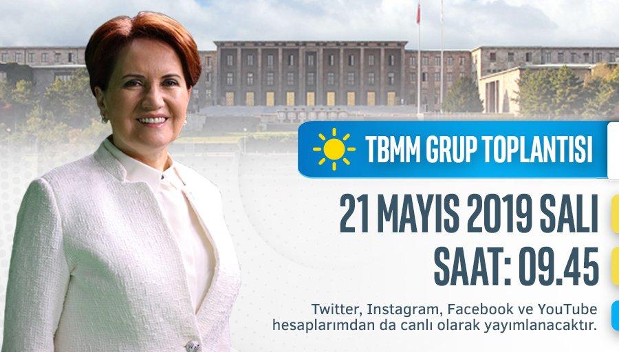 İYİ Parti Meclis Grup Toplantımız yarın (21 Mayıs, Salı) sabah 09.45'tedir.  Hükûmet güdümünde, demokratik ve tarafsız yayın yapan televizyon kanalları vermeyeceği için sadece Twitter, Instagram, Facebook ve YouTube hesaplarımdan canlı olarak izleyebilirsiniz.
