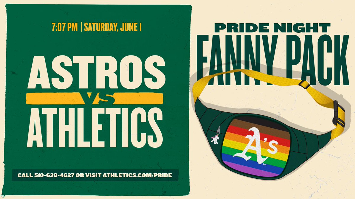 A's Pride Night 2019!  New this year, $5 of every special pride night ticket purchased through the link below will be donated to the Oakland LGBTQ Center. All fans in attendance will receive an Oakland A's unicorn fanny pack.  🎟: http://athletics.com/pride