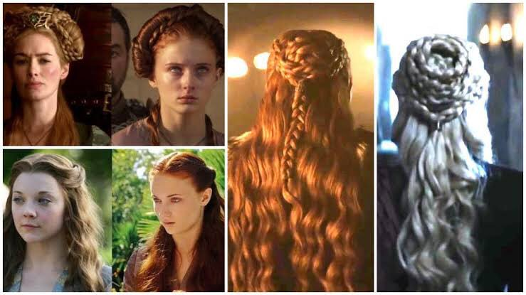 my sister & i were talking about the #GameOfThrones finale & she made a great point - Sansa's hair has always mimicked people she's learning from or inspired by. but now, Queen of the North in her own right, she wears it down. simple, unadorned & free to write her own story