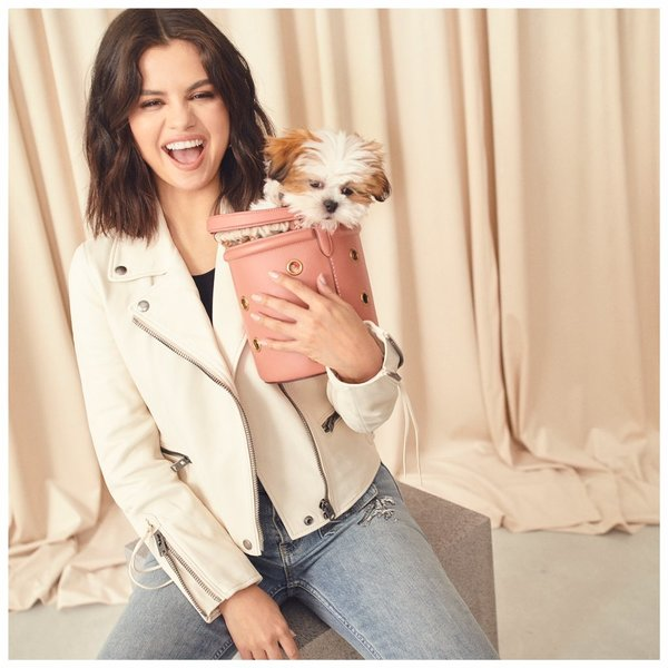 Our Bucket Bag is perfectly sized for fun (puppy, not included). #SelenaGomez #CoachNY http://on.coach.com/selenaspring