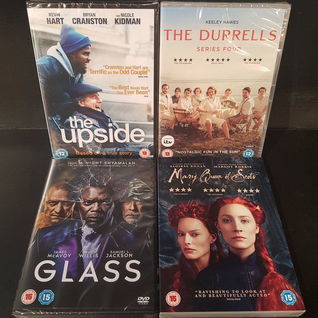 Just some of today&#39;s great new releases! #glassmovie #MaryQueenOfScots #TheDurrells #TheUpside @OrchardTaunton<br>http://pic.twitter.com/gVyB6DTJa4