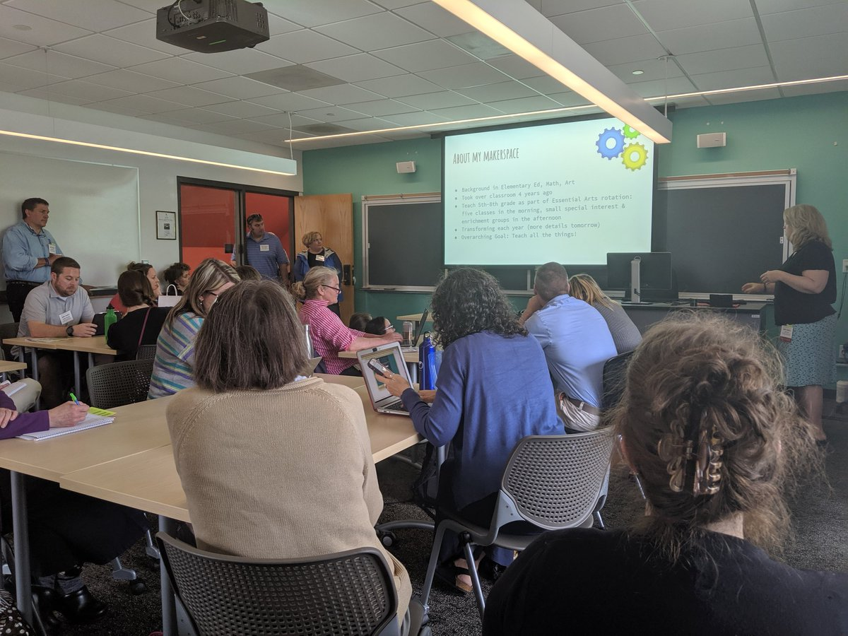 Maker space learning is where it is at! Standing room only! Can&#39;t wait to bring back some new ideas. #vted #DLVT19  #grcsu <br>http://pic.twitter.com/bmjCYrDNsE