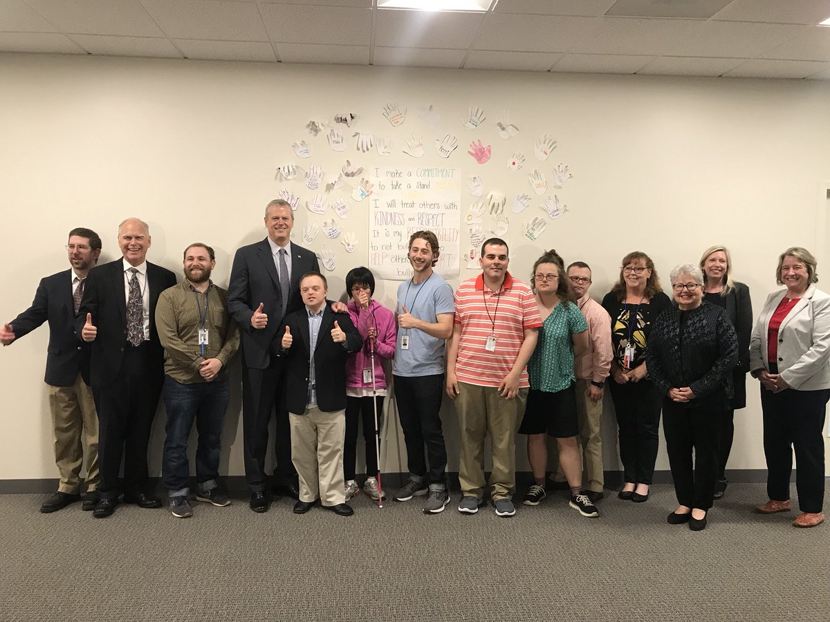 During the @ThePriceCenter visit, @MassGovernor met with clients in the Turning 22 program. Each yr the Dept of Developmental Services(DDS) transitions a growing number of young people into the Dept's adult service system. DDS projects to serve 1,269 in the FY20 Turning 22 class.