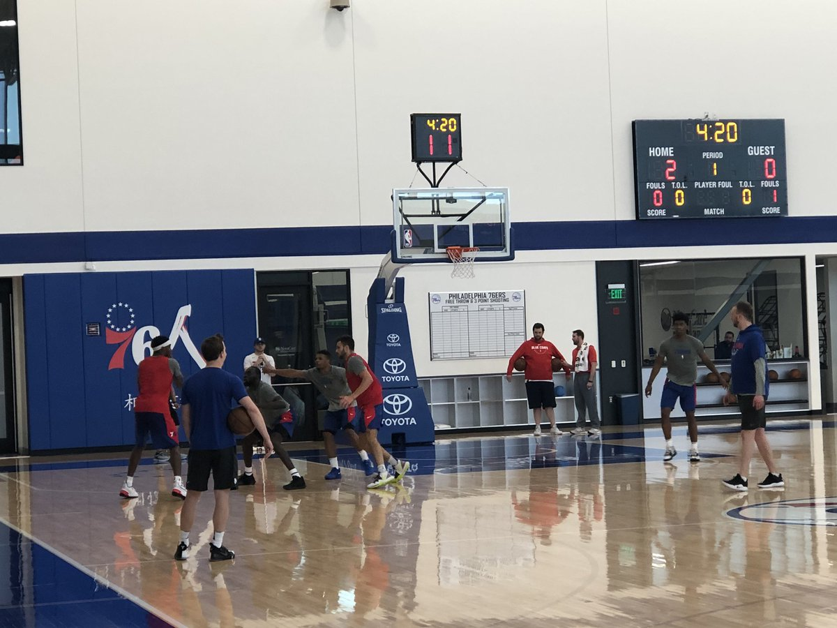 Sixers pre-draft workout today. Terence Mann of Florida State, Zylan Cheatam of ASU and Marial Shayok of Iowa State among those participating. <br>http://pic.twitter.com/SQrL7B1mjB &ndash; à Philadelphia 76ers Training Complex