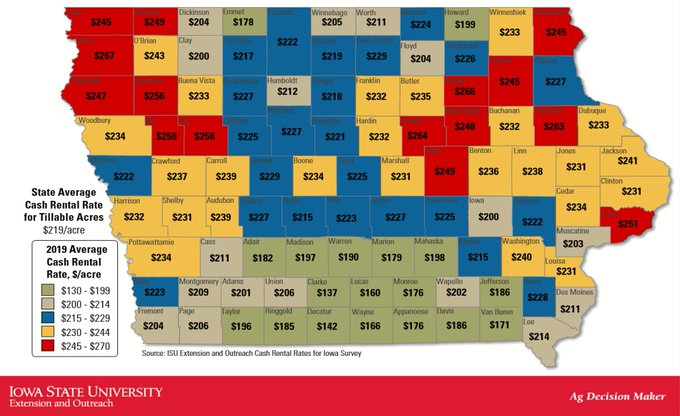 County map showing average cash rental rates for 2019 in Iowa
