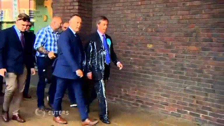 Nigel Farage shaken but unhurt in milkshake attack https://reut.rs/2HF2obg
