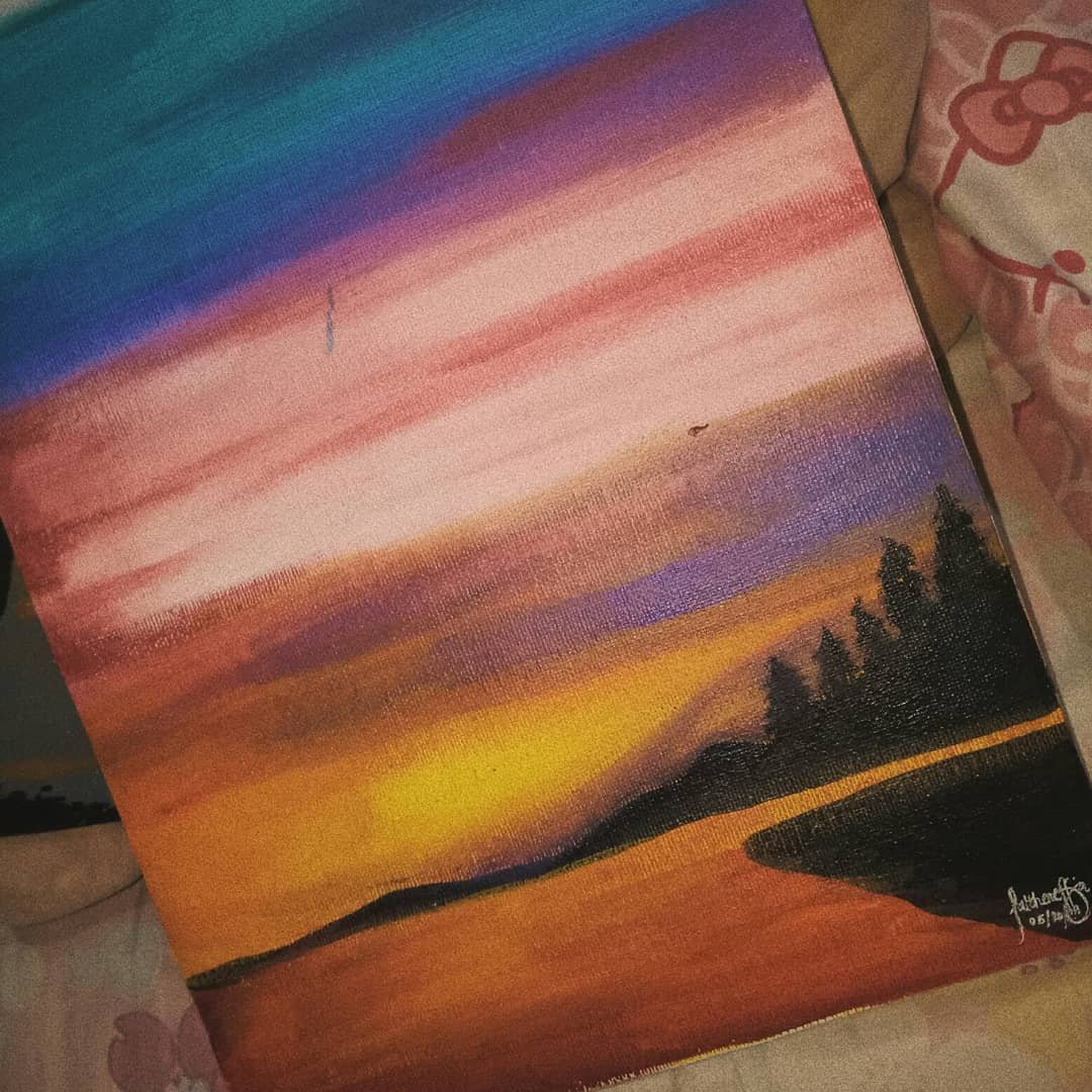 """""""Sunsets are proof that no matter what happens, everyday can end beautifully."""" –Kristen Butler  Another sunset request from ate @xyzmicha #sunsetpainting #aestheticpaintings #canvaspainting #paintingphotography #paintingoftheday #arcylicpainting #artworksph #proudfilipinapic.twitter.com/cl4YgBeogZ"""