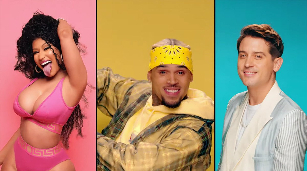 "Chris Brown, Nicki Minaj, and G-Eazy team up in the vibrant video for ""Wobble Up."" Watch: http://bit.ly/2Ju7wCw"