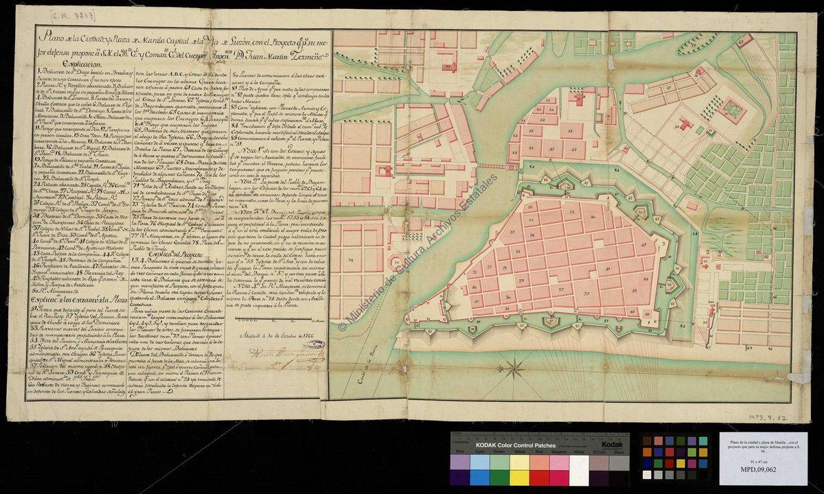 Con este doble plano de la ciudad y plaza #Manila en 1766 quiero dar la bienvenida a @cartasdmanila Archivo de #Simancas