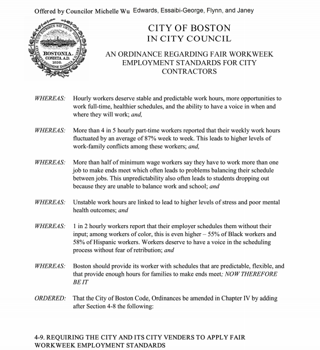 Join us today at 3:00 PM for a Government Operations working session regarding fair workweek employment standards for City contractors. #bospoli