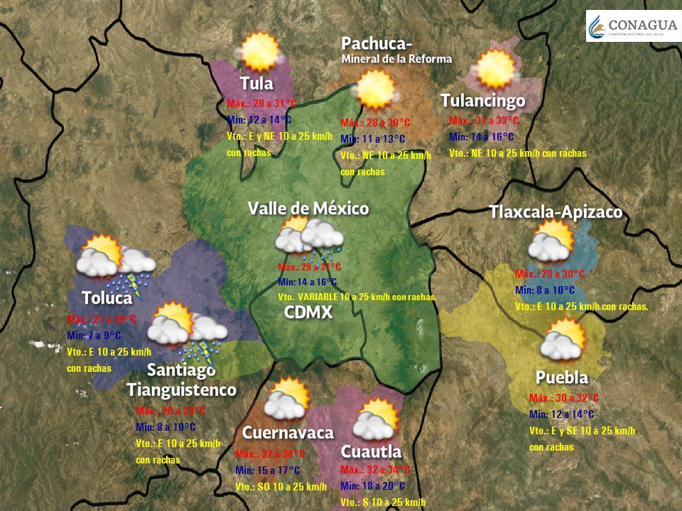 En el #ValleDeMéxico se prevé cielo parcialmente nublado durante la mañana, incremento de nubosidad en la tarde, #ActividadEléctrica , #Lluvias  aisladas en la #CDMX e intervalos de #Chubascos en el #EdoMéx. Más información en https://smn.conagua.gob.mx/es/pronosticos/pronosticossubmenu/pronostico-regional-para-el-valle-de-mexico…