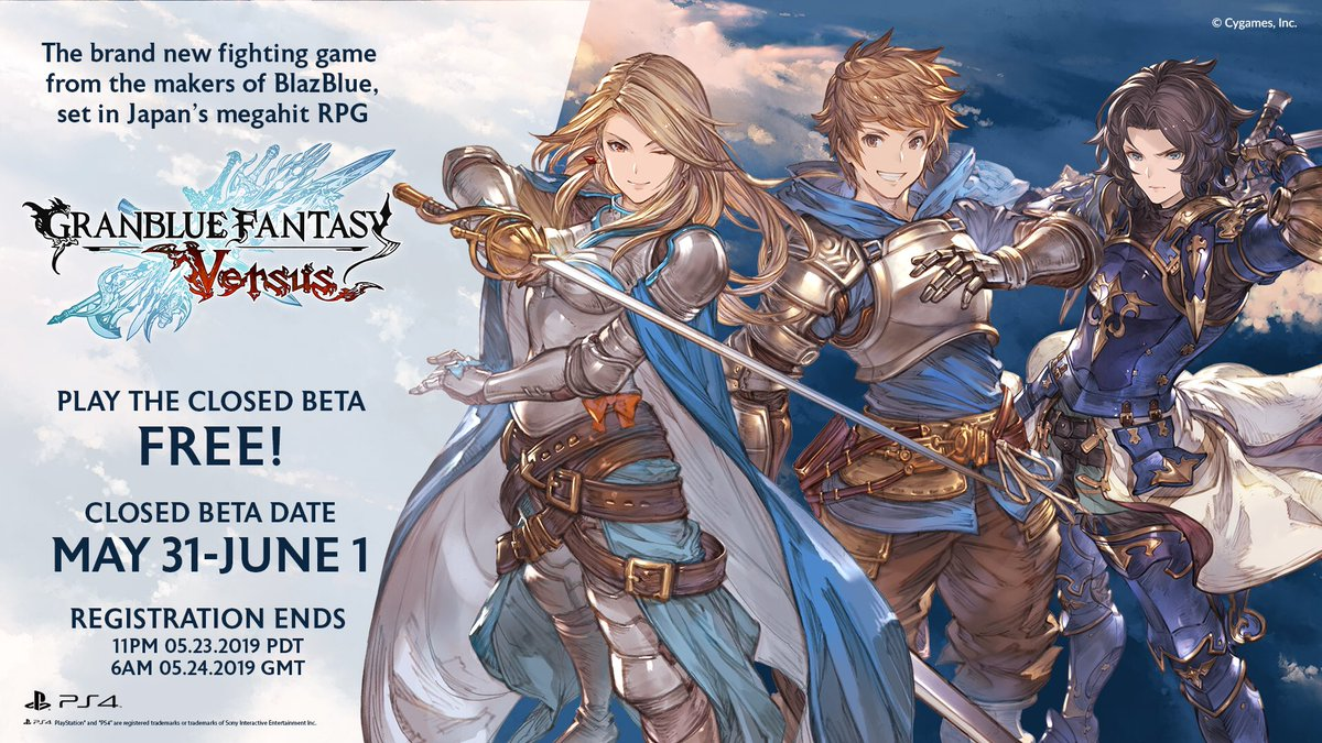 We&#39;re thrilled to have @Cygames_PR back in our sponsor lineup for #EVO2019. Be sure to sign up for their free Granblue Fantasy: Versus closed beta, the deadline is this Thursday! #GBVS   https:// versus.granbluefantasy.jp/en/closedbeta/  &nbsp;  <br>http://pic.twitter.com/Is1Gfv0kQn
