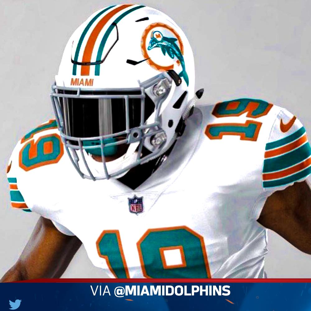 @MiamiDolphins will wear their throwback white jersey the September 15th home game against the @Patriots   Rate the jersey using one emoji! <br>http://pic.twitter.com/DTSCL1XcqF
