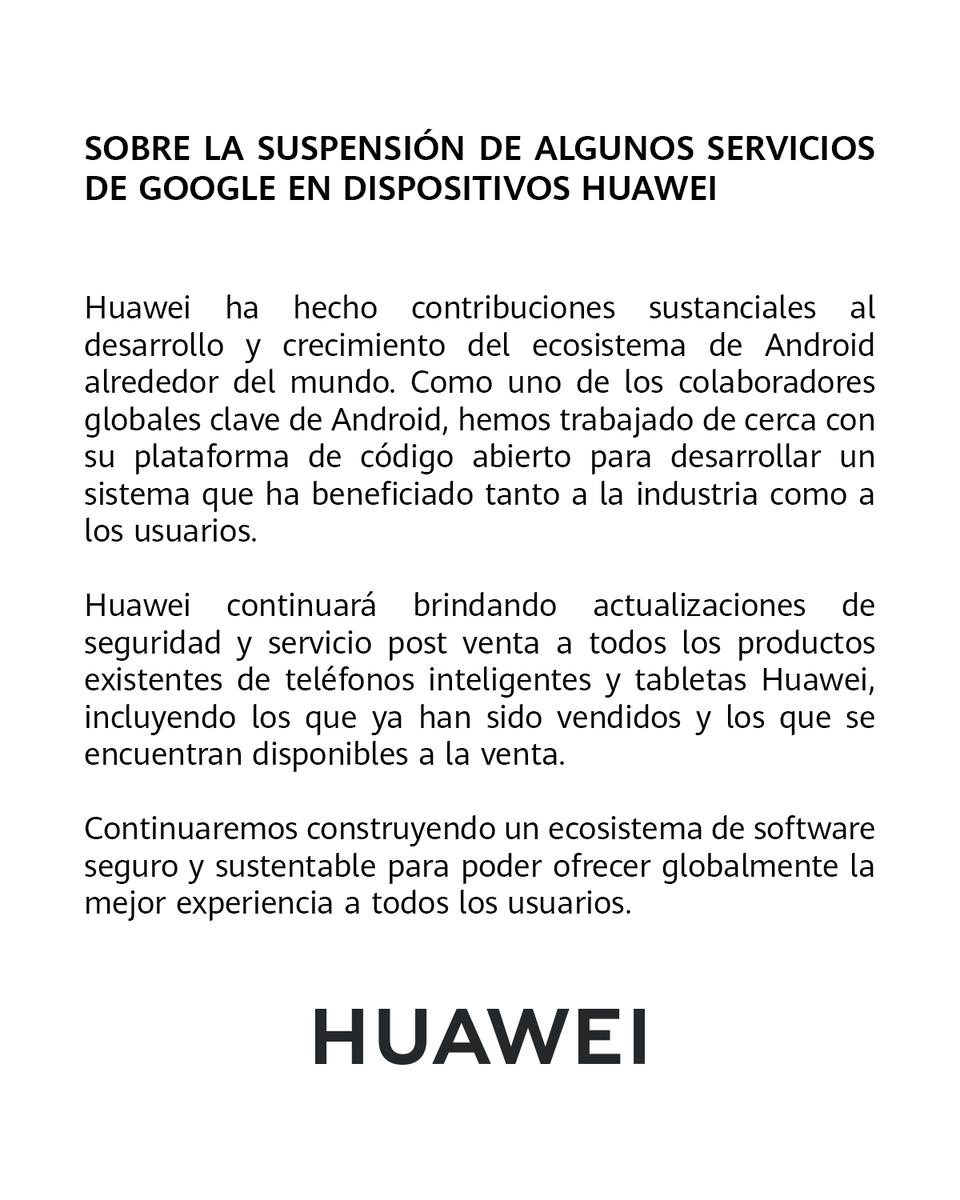 Comunicado para todos nuestros usuarios Huawei en México. https://t.co/AOzJH16Aut